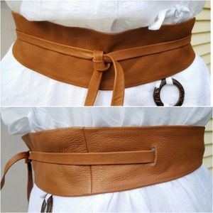 Leather Wrap Belt (Camel) Size M